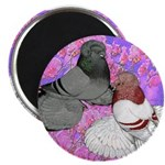 Trumpeter Pigeons and Flowers Magnet