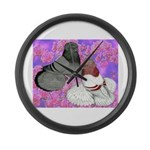 Trumpeter Pigeons and Flowers Large Wall Clock