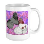 Trumpeter Pigeons and Flowers Large Mug