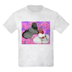 Trumpeter Pigeons and Flowers T-Shirt