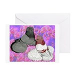 Trumpeter Pigeons and Flowers Greeting Card