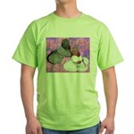 Trumpeter Pigeons and Flowers Green T-Shirt