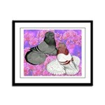 Trumpeter Pigeons and Flowers Framed Panel Print