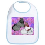 Trumpeter Pigeons and Flowers Bib