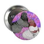 "Trumpeter Pigeons and Flowers 2.25"" Button"