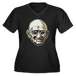 Mahatma Gandhi Women's Plus Size V-Neck Dark T-Shi