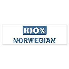 100 Percent Norwegian Bumper Car Sticker