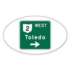 Toledo, OH Highway Sign Oval Decal