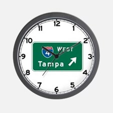 Tampa, FL Highway Sign Wall Clock