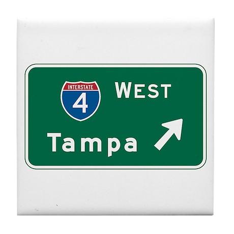 Tampa, FL Highway Sign Tile Coaster