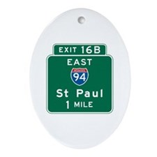 St. Paul, MN Highway Sign Oval Ornament