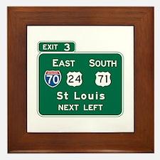 St. Louis, MO Highway Sign Framed Tile
