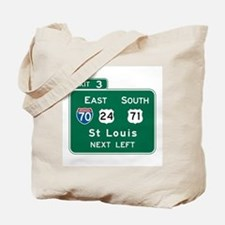 St. Louis, MO Highway Sign Tote Bag