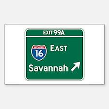 Savannah, GA Highway Sign Rectangle Decal