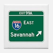 Savannah, GA Highway Sign Tile Coaster