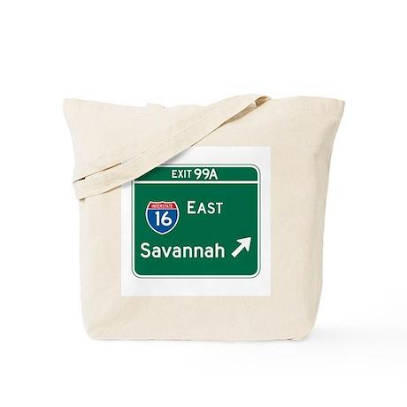 Savannah, GA Highway Sign Tote Bag