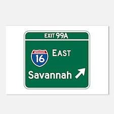 Savannah, GA Highway Sign Postcards (Package of 8)