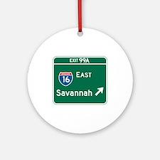 Savannah, GA Highway Sign Ornament (Round)