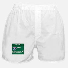 Savannah, GA Highway Sign Boxer Shorts