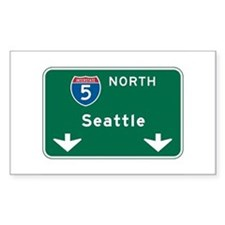 Seattle, WA Highway Sign Rectangle Decal