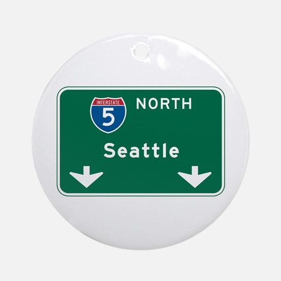 Seattle, WA Highway Sign Ornament (Round)