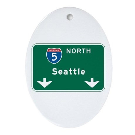 Seattle, WA Highway Sign Oval Ornament