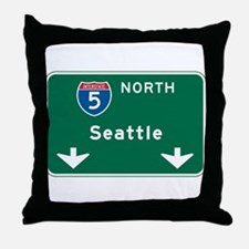 Seattle, WA Highway Sign Throw Pillow