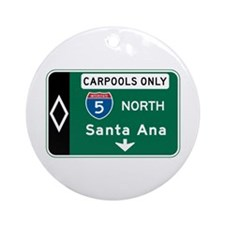 Santa Ana, CA Highway Sign Ornament (Round)