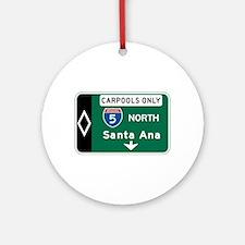 Santa Ana, CA Highway Sign Ornament (Round)