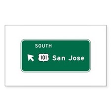 San Jose, CA Highway Sign Rectangle Decal