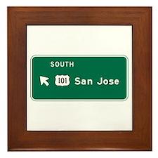 San Jose, CA Highway Sign Framed Tile