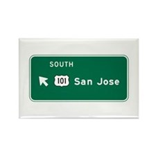 San Jose, CA Highway Sign Rectangle Magnet (100 pa