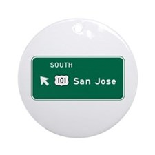 San Jose, CA Highway Sign Ornament (Round)