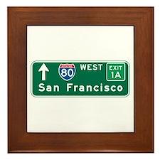San Francisco, CA Highway Sign Framed Tile