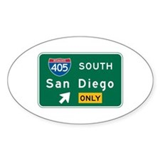 San Diego, CA Highway Sign Oval Decal