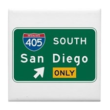 San Diego, CA Highway Sign Tile Coaster