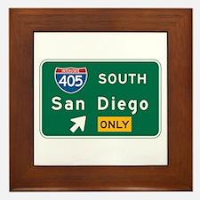 San Diego, CA Highway Sign Framed Tile