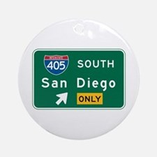 San Diego, CA Highway Sign Ornament (Round)