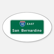 San Bernardino, CA Highway Sign Oval Decal