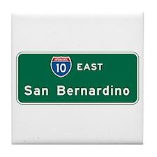 San Bernardino, CA Highway Sign Tile Coaster