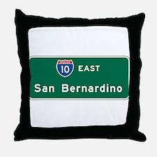 San Bernardino, CA Highway Sign Throw Pillow