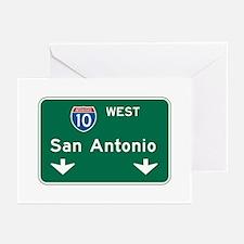 San Antonio, TX Highway Sign Greeting Cards (Pk of