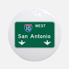 San Antonio, TX Highway Sign Ornament (Round)