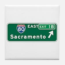 Sacramento, CA Highway Sign Tile Coaster