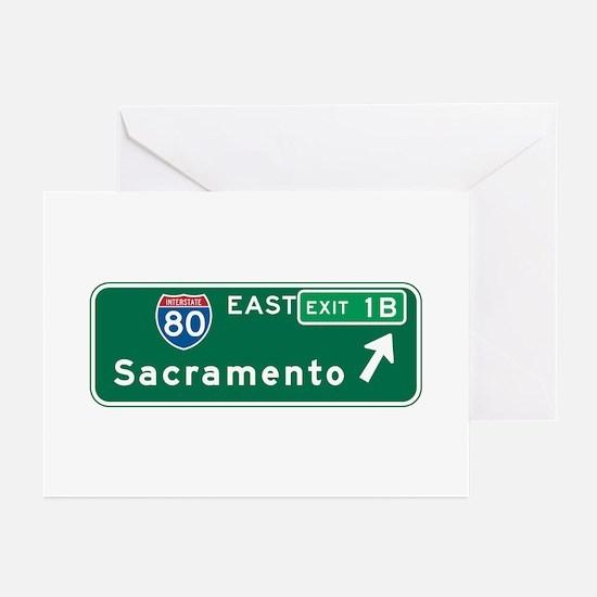Sacramento, CA Highway Sign Greeting Cards (Pk of