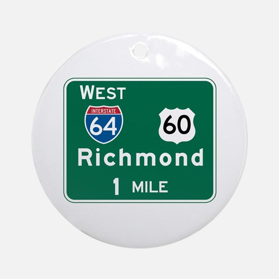 Richmond, VA Highway Sign Ornament (Round)