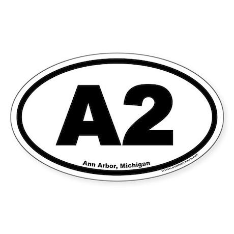 A2 Ann Arbor Michigan Euro Oval Sticker