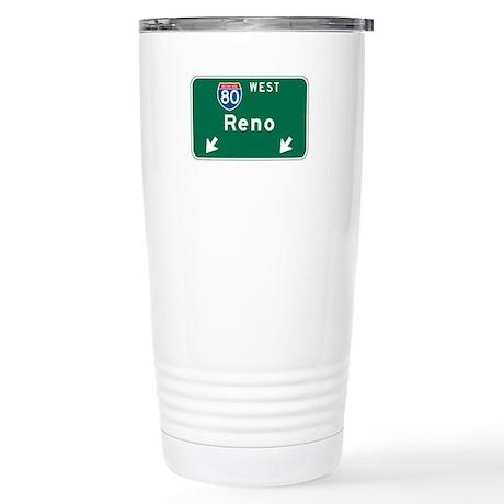 Reno, NV Highway Sign Stainless Steel Travel Mug