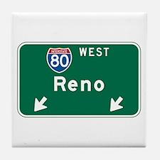 Reno, NV Highway Sign Tile Coaster