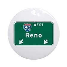 Reno, NV Highway Sign Ornament (Round)